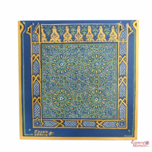 Moroccan Mosaic Art Zouak Style signed by a Moroccan Artist Gold Blue Majorelle 45 cm x 45 cm